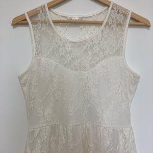 Hi-Low Lace-Lined Sweetheart Dress